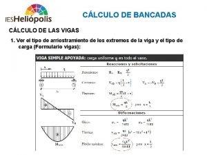 CLCULO DE BANCADAS CLCULO DE LAS VIGAS 1