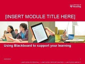INSERT MODULE TITLE HERE Using Blackboard to support