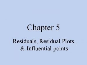 Chapter 5 Residuals Residual Plots Influential points Residuals