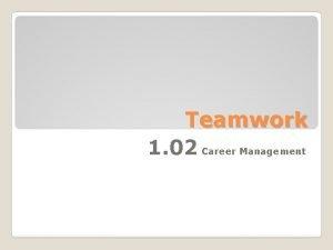 Teamwork 1 02 Career Management Teamwork Actions that