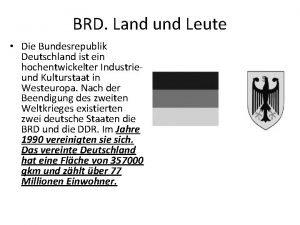 BRD Land und Leute Die Bundesrepublik Deutschland ist