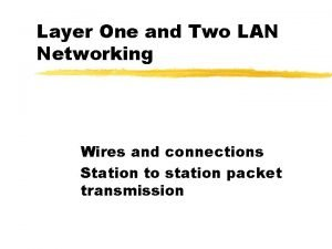 Layer One and Two LAN Networking Wires and