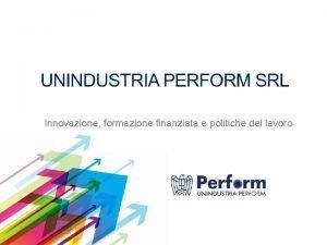 Innovazione formazione finanziata e politiche del lavoro CONTENUTI