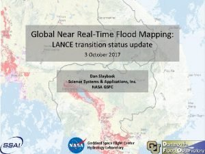 Global Near RealTime Flood Mapping LANCE transition status