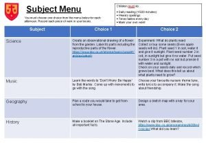 Subject Menu Children must do You must choose