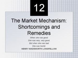 12 The Market Mechanism Shortcomings and Remedies When