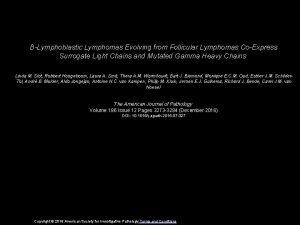 BLymphoblastic Lymphomas Evolving from Follicular Lymphomas CoExpress Surrogate