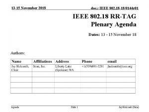 13 15 November 2018 doc IEEE 802 18