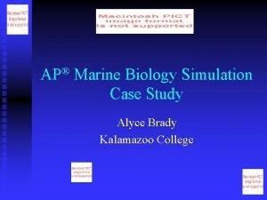 AP Marine Biology Simulation Case Study Alyce Brady