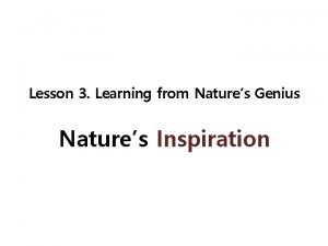 Lesson 3 Learning from Natures Genius Natures Inspiration