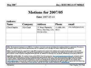 May 2007 doc IEEE 802 11 070686 r