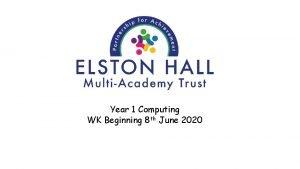 Year 1 Computing WK Beginning 8 th June