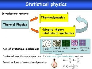 Statistical physics Introductory remarks Thermodynamics Thermal Physics kinetic