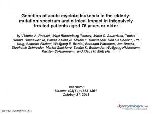 Genetics of acute myeloid leukemia in the elderly