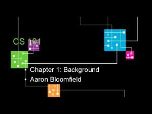 CS 101 Chapter 1 Background Aaron Bloomfield Lets