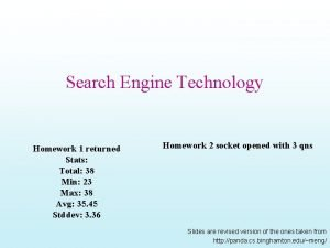 Search Engine Technology Homework 1 returned Stats Total