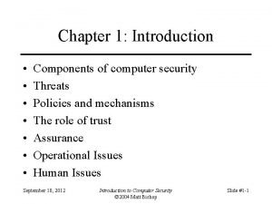 Chapter 1 Introduction Components of computer security Threats