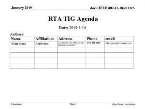January 2019 doc IEEE 802 11 182111 r