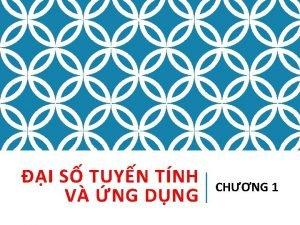 I S TUYN TNH V NG DNG CHNG