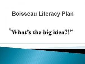Boisseau Literacy Plan Whats the big idea Data