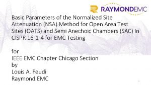 Basic Parameters of the Normalized Site Attenuation NSA