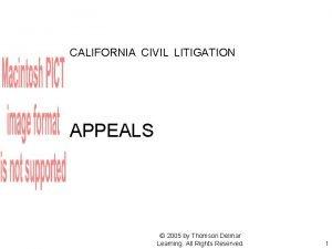CALIFORNIA CIVIL LITIGATION APPEALS 2005 by Thomson Delmar
