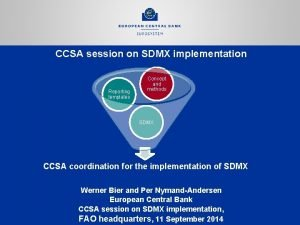 CCSA session on SDMX implementation Reporting templates Concept
