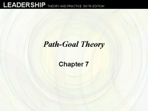 LEADERSHIP THEORY AND PRACTICE SIXTH EDITION PathGoal Theory