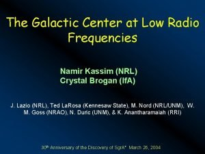 The Galactic Center at Low Radio Frequencies Namir
