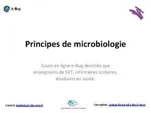 Principes de microbiologie Cours en ligne eBug destins