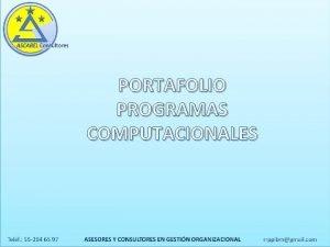 PORTAFOLIO PROGRAMAS COMPUTACIONALES SIPAC SISTEMA ADMINISTRACIN Y CONTROL