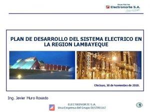 PLAN DE DESARROLLO DEL SISTEMA ELECTRICO EN LA