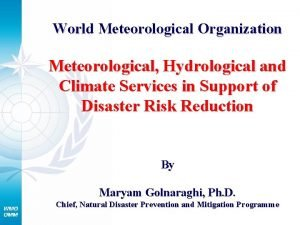 World Meteorological Organization Meteorological Hydrological and Climate Services