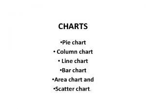 CHARTS Pie chart Column chart Line chart Bar