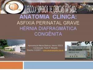 ANATOMIA CLNICA ASFIXIA PERINATAL GRAVE HRNIA DIAFRAGMTICA CONGNITA