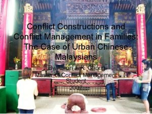 Conflict Constructions and Conflict Management in Families The
