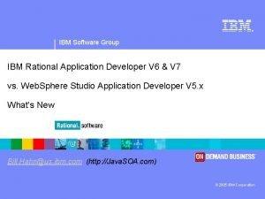 IBM Software Group IBM Rational Application Developer V