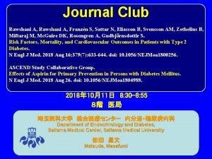 Journal Club Rawshani A Franzn S Sattar N
