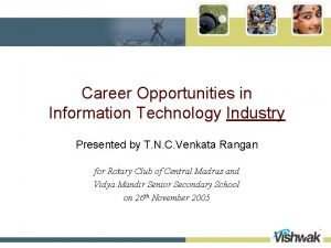 Career Opportunities in Information Technology Industry Presented by