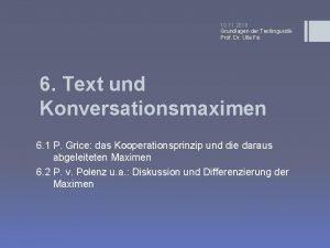 10 11 2010 Grundlagen der Textlinguistik Prof Dr