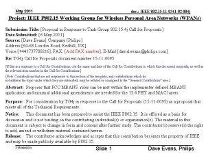 May 2011 doc IEEE 802 15 11 0341