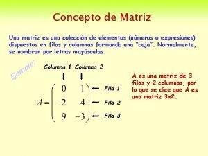 Concepto de Matriz Una matriz es una coleccin