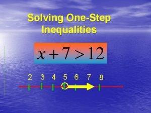 Solving OneStep Inequalities 2 3 4 5 6