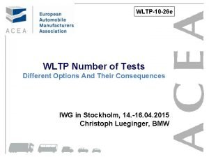 WLTP10 26 e WLTP Number of Tests Different
