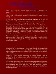 Studio legale santini AREAS OF PRACTICE Studio Legale