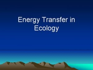 Energy Transfer in Ecology Producers Producers are any