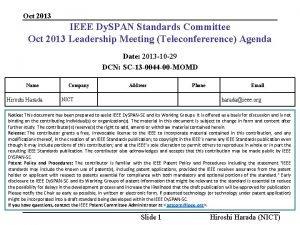 Oct 2013 IEEE Dy SPAN Standards Committee Oct