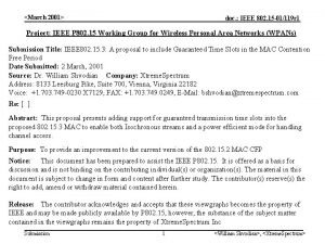 March 2001 doc IEEE 802 15 01119 r