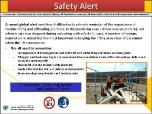 Safety Alert Use this Alert Discuss in Tool