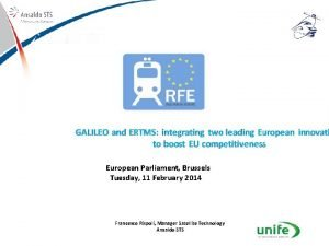 Satellitebased solutions for Train Control Systems European Parliament